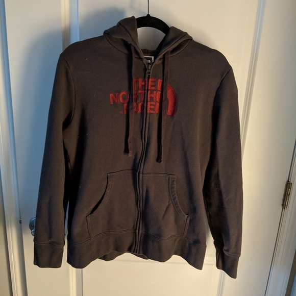 The North Face Tops - The North Face grey zip logo hoodie